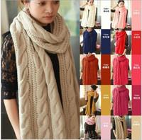 Details about Fashion Korean Winter Women Men Braided Knit Wool Long Scarf Wrap Shawl Scarves