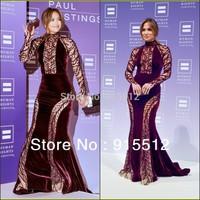 Jennifer Lopez Gorgeous Mermaid High Collar Long Sleeve Beaded Zuhair Murad 2013 Turkish Evening Dresses