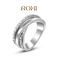 ROXI brand fashion white gold plated rings for women,set with zircon crystal,fashion jewelry
