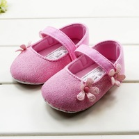 CL0005 Sweet Baby Girl Pink Color Princess Shoes Cute Flower Soft First Walker Baby Shoes 3 Sizes