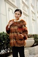 2012 fur coat fox fur rabbit fur winter female medium-long fur overcoat