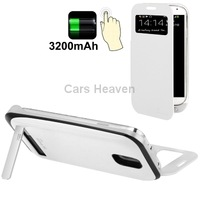 3200mAh Large Power External Power Bank with Call Display Flip Leather Cover Holder for Samsung Galaxy S4/ i9500 (White)
