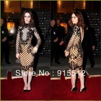 Lily Collins Fashion Sheath High Collar Long Sleeve Knee Length Zuhair Murad Celebrity Red Carpet Dress Lace