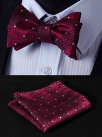 BC1016R Red Check Classic 100%Silk Jacquard Woven Men Butterfly Self Bow Tie BowTie Pocket Square Handkerchief Suit Set