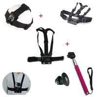 F05670-A Helmet Head Strap Belt Mount + Chest Shoulder Strap + Self-portrait Monopod W/ Tripod Mount for Gopro Hero HD Camera FS