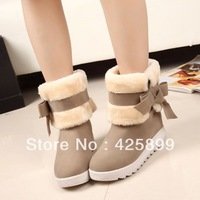 FREE SHIPPING Autumn winter sweet bow snow boots cotton boots platform winter boots platform shoes