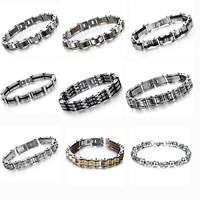 OPK JEWELRY FREE SHIPPING! Fashion Mens' Casual bracelets & bangle stainless steel infinity Thicker Bracelet 5 pcs/lot