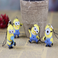 Factory price 20pcs/lot cute 4 colors New Arrival ! 4Styles 3.6CM Despicable Me Movie 3D Eyes Minions Toy phone Charm b151