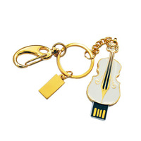 New arrival hot sales 4GB Small White Violin Style USB 2.0 Enough Memory Flash Drive with Keychain New Freeshipping & wholesale