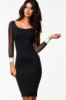 Winter dresses Long Sleeve Black and White Patchwork Midi Bodycon Dress