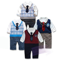 Free Shipping Retail Baby Romper, boy's Gentleman modelling romper infant long sleeve climb clothes kids outwear jumpsuit