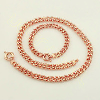 Free Shipping Russian Gold Jewelry Sets Men's Boy's Rose Gold Filled Necklace Bracelet Big Curb Chain TZ17