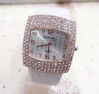Wholesale women wristwatches ladies rhinestone fashion leather strap quartz watch Women watches  FS128
