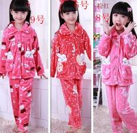 Winter thickening child flannel sleepwear little girl long-sleeve winter coral fleece baby lounge set