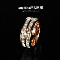 Free Shipping Shining Full Rhinestone Queen Small 18k Rose Gold Titanium Double Of The Sparkling Imitation Diamond Ring Designer