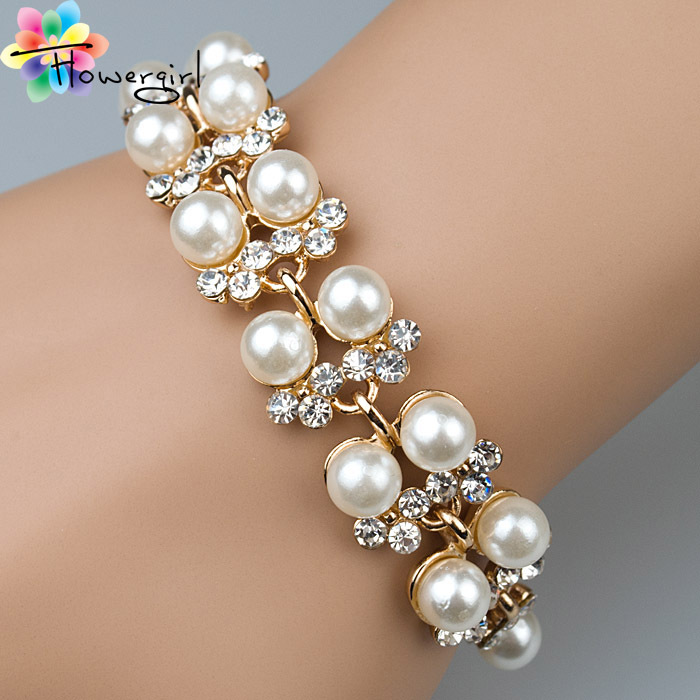 2014 Mix order Beautiful Gril s Fashion Rhinestone With Pearl Bracelet Jewelry Wholesale 3263 A25