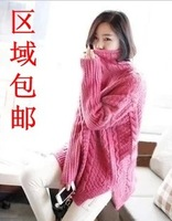 Vintage twisted turtleneck sweater loose pullover outerwear female  free shipping