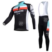 FREE SHIPPING/2013 Fleece Thermal BIANCHI Long Sleeve and Bib Pants Cycling Jersey /Wear/Clothing/Bicycle/Bike/Riding jersey