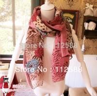 Rustic Women flowers muffler scarf silk scarf geometry ultralarge fluid design long scarf sun cape thermal