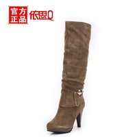 New 2013 winter paragraph boots fashion metal chain genuine leather  high heels women boots high-leg