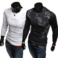 Personalized chinese style sports type male fashion male print long-sleeve round neck T-shirt 3987