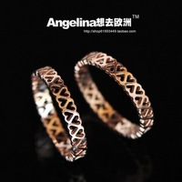 Free shipping rose gold plated titanium steel hollow out heart ring
