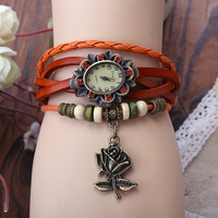 Hot Sale- Original High Quality Women Genuine Leather Vintage Watch, Roses Pendant, Bracelet watches, Free Shipping