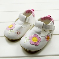 CL0014  Princess White Color Baby Girl Shoes Cute Sunflower Pattern Soft Sole Baby Shoe Free Shipping, 3 Size