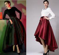 Hot! 2014 spring new women fashion high-low floor length irregular bow long maxi skirt designer asymmetrical black red skirts