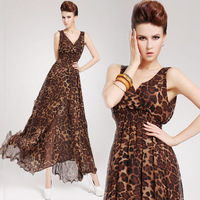 Sexy leopard print 2013 V-neck ultra long chiffon sleeveless one-piece dress double layer ruffle oversized sweep full dress