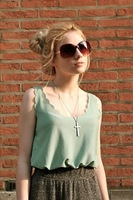 3size Woman Chiffon sleeveless shirt dresses Ladies tank Tops tee plus size long design vest 16 Color free shipping