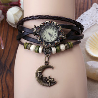 Hot Sale- 7 Colors High Quality Women Vintage Genuine Leather Watches Moon And Angel  Bracelet Wristwatches