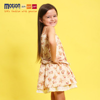 Female child summer sweet 100% cotton one-piece dress suspender skirt vest