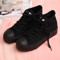 Free shipping 2013 black canvas shoes female high platform casual shoes breathable lacing work shoes women sneakers