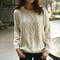 Tengdalam2013 women's twisted long-sleeve wool basic sweater loose sweater
