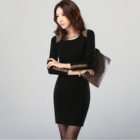 2013 women's one-piece dress plus size slim thickening plus velvet basic skirt autumn and winter female one-piece dress