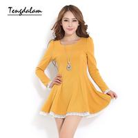 Autumn one-piece dress 2013 clothing women's elegant lace slim long-sleeve basic skirt