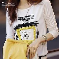 2013 summer perfume bottle print rhinestones slim all-match o-neck women's short-sleeve T-shirt