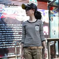 Long-sleeve T-shirt 2013 autumn female women's top navy style stripe slim shirt basic fashion