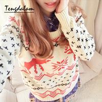 Tengdalam2013 women's onta christmas long-sleeve basic sweater loose sweater