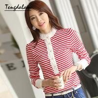 2013 autumn plus size clothing slim basic shirt lace stripe long-sleeve T-shirt