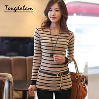 Tengdalam 2013 autumn women's stripe slim o-neck long-sleeve t-shirt basic shirt