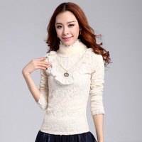 Plus velvet lace basic shirt female long-sleeve turtleneck 2013 autumn and winter plus size clothing thermal fur collar top