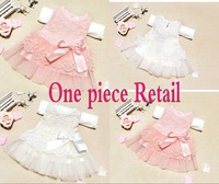 New 2014 Infant baby girls dresses children clothing cotton ball gown dress kids bow lace princess clothes 2colors high quality