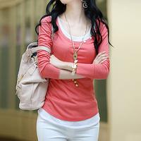 Tengdalam 2013 autumn thread long-sleeve o-neck color block decoration twinset t-shirt basic shirt