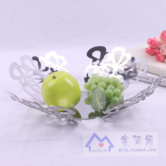 Brief fashion stainless steel fruit plate circle candy dish new house soft decoration(China (Mai