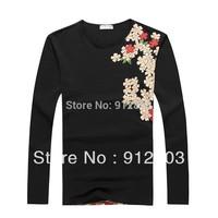 2014 Creative Flower 3D New Hot Men Plus Size T Shirt Man Cotton EU American Portrait Stylish Tops & Tees T-shirts M-2XL