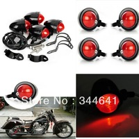Set of 4PCS Black Motorcycle Bullet Turn Signals Light Indicator Lamp with Fork Tubes