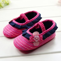 CL0019 New Arrival Very Cute Children's Shoes Dark Red Flower Baby Shoes Soft Sole Flower Princess Girls Shoes, 3 Size