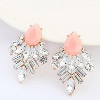 Free Shipping! Hot Fashion New Metal Jewelry Women Vintage Pink Acrylic Resin Geometric Shape Ear Stud Earring Wholesale#101928